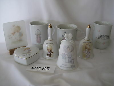 8 Precious Moments Figurines Bells Cups Mugs Jewelry Trinket Box Glass Picture