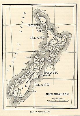 Antique Map, New Zealand 1882