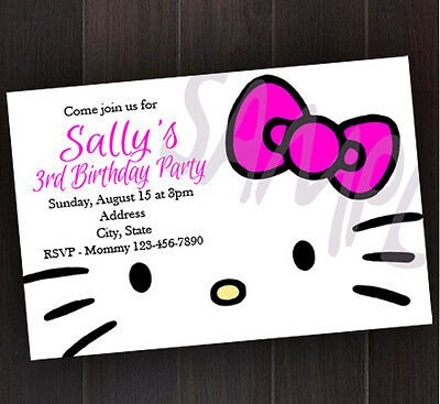 Hello Kitty Birthday PERSONALIZED Name and AGE Invitation Printable