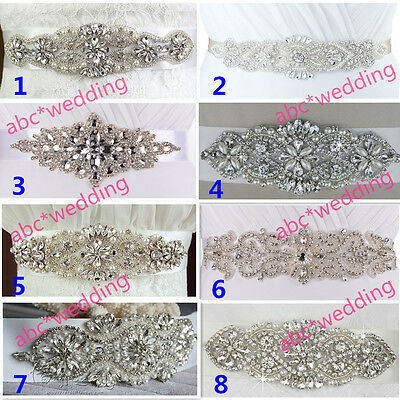 Rhinestones Bridal sash Wedding Dress sash Glass Bead belt Crystal waist Belt