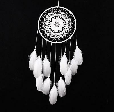 White Handmade Lace Dream Catcher Feather Bead Hanging Decoration Ornament Gift