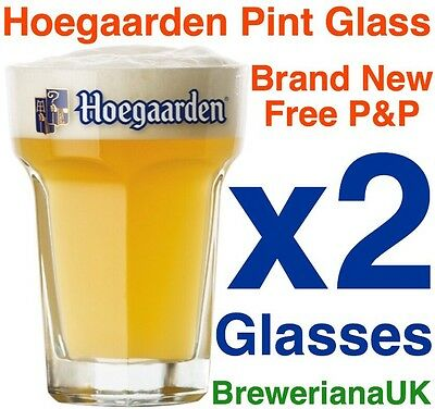 Set Of 2 Hoegaarden Pint Glasses Brand New 100% Genuine CE Stamped