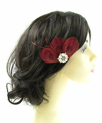 Burgundy Dark Red Silver Peacock Feather Fascinator Hair Clip Vtg 1920s 30s 755