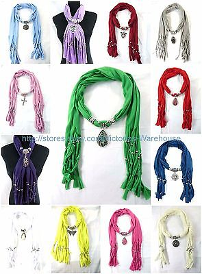 US SELLER ,6PC scarf with pendant crystal faux gemstone jewelry wholesale shawl