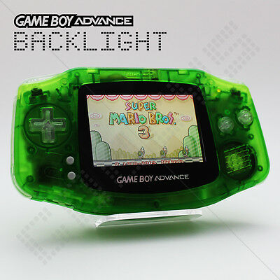 Clear Green Backlit Nintendo Game Boy Advance GBA AGS-101 Backlight Console