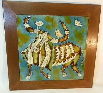 Vtg Asian Chinese ASIAN Tile Art Bull STEER w Birds  CeramicPottery SIGNED Happy
