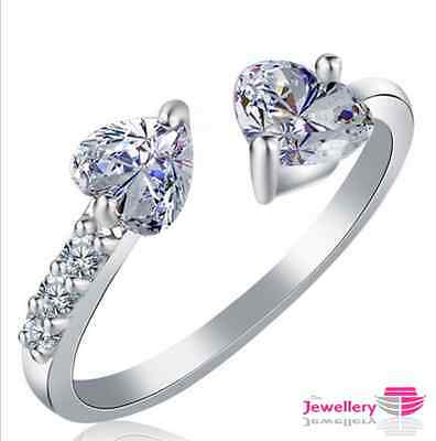 Silver Plated Double Heart Crystal CZ Ring Jewellery Womens Ladies Gifts Uk