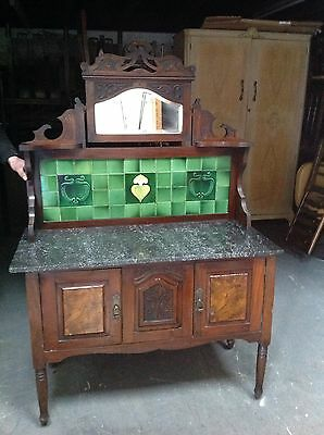 Art Nouveau Marble Top Tiled Washstand Antique Victorian Flamed Mahogany