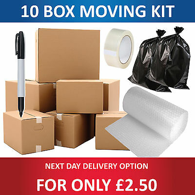 NEW 10 X LARGE SINGLE WALL Cardboard House Moving Boxes - Removal Packing box