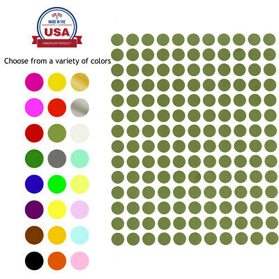 "Round Dots Stickers 3/8"" 10 Colors Available 2100 Pack 15 Sheets 0.375 Inch 10mm"