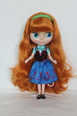 Transparent skin Blythe Doll from factory Nude apricot part curly hair SD181