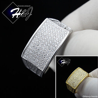 Men 925 Sterling Silver Lab Diamond Iced Out Bling Silver/gold Ring*sr1