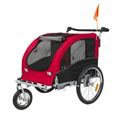 2 In 1 Pet Dog Deluxe Trailer Bicycle Jogging Stroller Suspension Wagon Bike Red