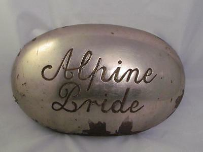 "Antique Casket Emblem/sign ""alpine Bride"" Cast Iron Death Plaque-Vintage"