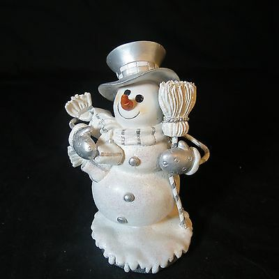 Snowman Winter  Figurine White And Gray