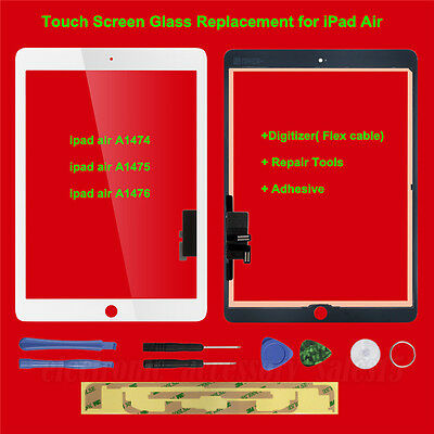 For iPad 5 Air Touch Screen Glass Lens Replacement Digitizer White+Repair Tools