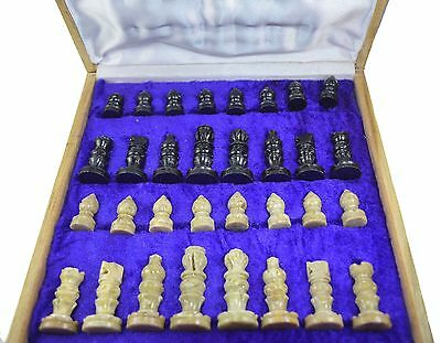 "VINTAGE WOODEN CHESS BOARD Set 12"" X 12 "" India Art handmade Marble Set players"