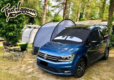 VW Caddy Front Window Screen Cover Black Out Blind Wrap Frost Blue Eyes