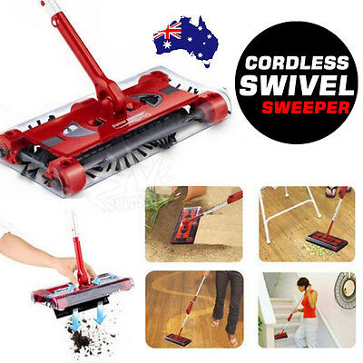 Electric Cordless Quad Brush Swivel Floor Sweeper Mop Bagless Cleaner Red