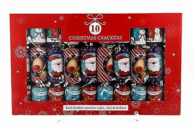 10 Christmas Luxury Childrens Crackers Santa Rudolph Table Decoration
