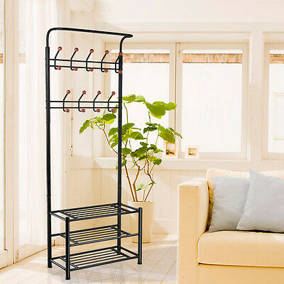 New Multi-purpose New Metal 18 Hanger Hooks Clothes Shoes Hats Bags Stand Rack
