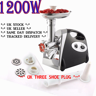 New 1200W Electric Mincer & Sausage Grind Filler Meat Grinder Maker Filler Black