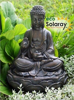 Anya Buddha Solar Power Water Feature Fountain Cascade Outdoor Garden Patio New