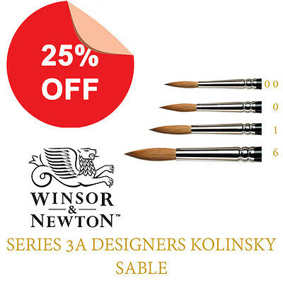 Winsor and Newton Series 3A Kolinsky Sable Watercolour Brushes