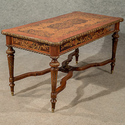 Antique Italian Coffee Side Table Gilt Metal & Fine Marquetry 19th Century c1900