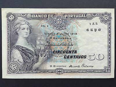 Portugal 50 Centavos P112b Dated 5th July 1918 Uncirculated UNC aUNC
