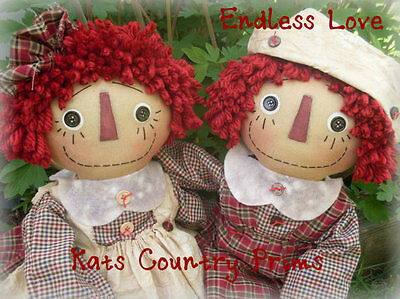 "Primitive Raggedy Ann style doll 21/"" Cookies 4 Andy MAILED PATTERN #164"