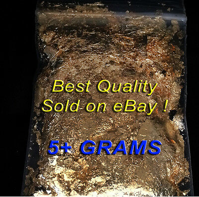 5 Grams of Premium 24K Gold Luster Gold Leaf Flakes Certified Weight SHIPS FREE