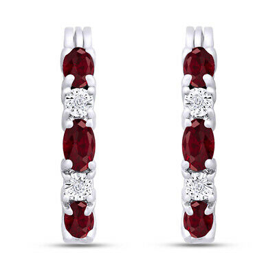 Summer Sale 2.00 Ct Created Ruby Hoop Earrgs with Diamonds Platum-Plated Brass