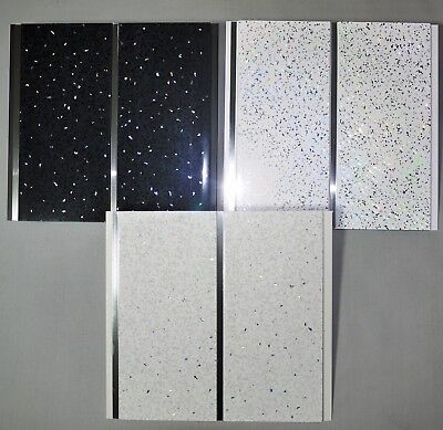 Black White Or Platinum Sparkle Chrome 8mm PVC Bathroom Wall Cladding Ceiling