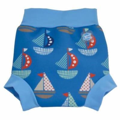 Splash About Happy Nappy 0-3-4 Months Small Baby Boys Blue Boat Swimming Pants