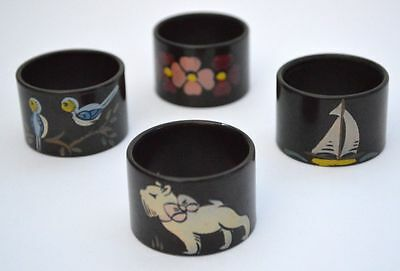 VINTAGE 40s 4 EARLY PLASTIC /BAKELITE MOTTLED BROWN PAINTED NAPKIN RINGS + BOX