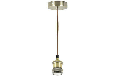E27 Industrial Pendant Ceiling Rose Light Fitting 7 Colours DIY + Cage Shades