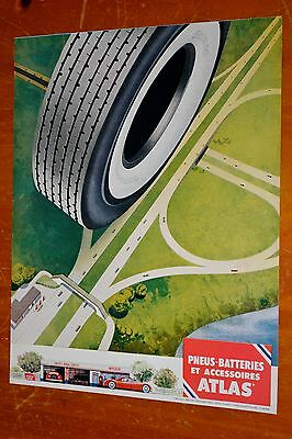 French 1955 Atlas Tires Beautiful Canadian Vintage Illustration Ad - Retro 50S