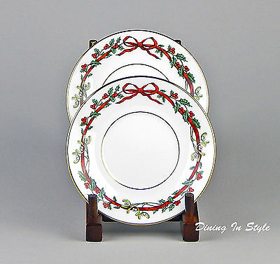 Set of 2 Saucers, MINT/NEAR MINT! Holly Ribbons, Royal Worcester ENGLAND
