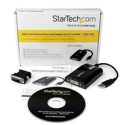 STARTECH USB2DVIPRO2 USB to DVI External Video Card 1920x1200 PC/MAC NEW