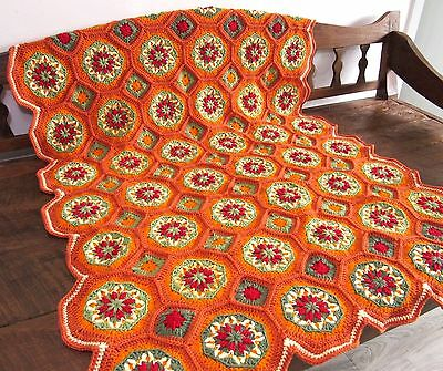 Hand Crocheted Thanksgiving Fall afghan throw / blanket.