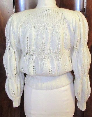 Vtg 80's Semplice White Cardigan W/ornate Puffed Pattern/glass Buttons-M