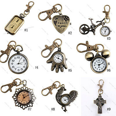 Retro Bronze Mini Pendant Quartz Pocket Watch Key Chain Key Ring Watch Gift