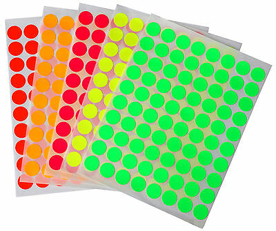 """1/2"""" Fluorescent Labels Neon Stickers 5 Sheets Half Inch Dots 13 mm 400 Pack"""
