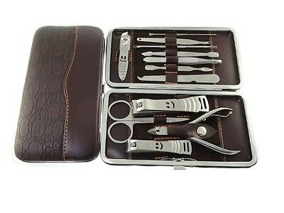 12 Cutter Cuticle Manicure Pedicure Case Nail Kit Care Piece Clipper Set Gift