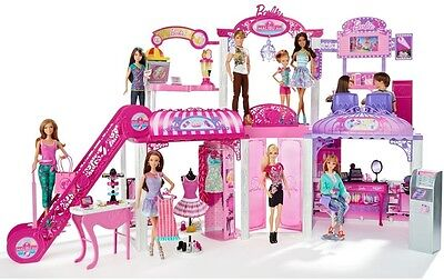 Barbie Malibu Mall Beauty Shop with Dolls Set Lots Of Fashion And Fun Makeover