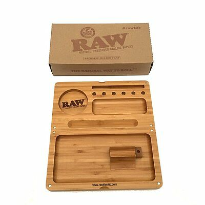 New Raw Wooden Bamboo BACKFLIP Magnetic Rolling Tray Stash Box