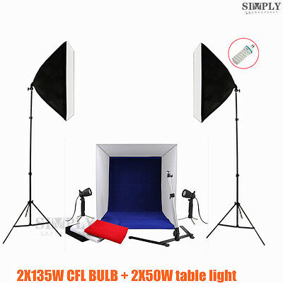 Photography Studio Softbox Soft box Lighting Stand Light Cube Tent Backdrop Kit
