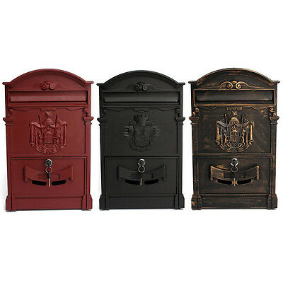 Vintage Cast Postal Mail Box Mailbox Letter Wall Mount W/ Lock Keys 3 color New