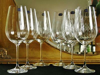 Boxed set of 6 Bohemia Crystal Waterfall Wine Goblets 550ml. NEW